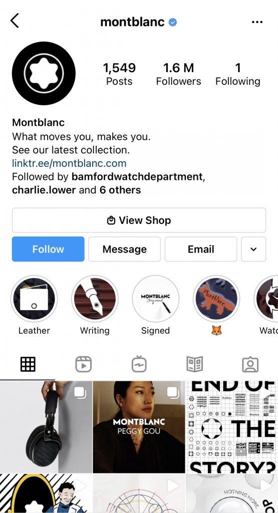 Montblanc Profile - Instagram Content Strategies